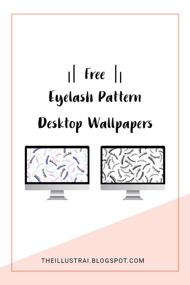 Download these adorable eyelash patterned desktop wallpapers