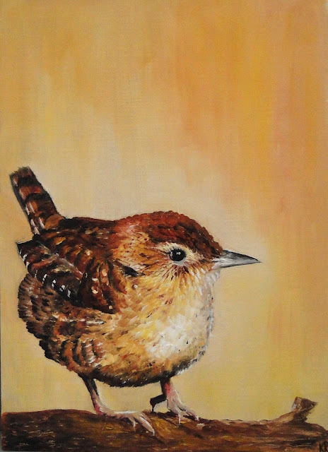 oil painting of a little wren on a tonal background