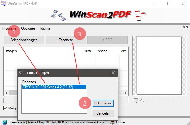 WinScan2PDF 6.22 - Escanea y guarda en PDF aunque no tengas los controladores del escaner