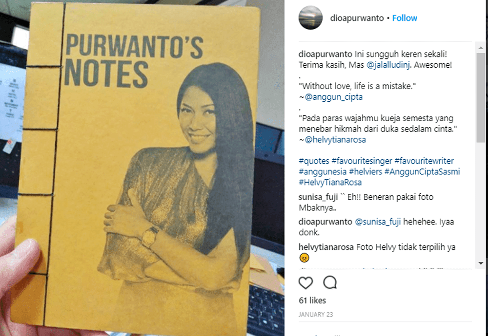 Handmade Purwanto's Notes Anggun Cipta Sasmi by JL Keren Creative