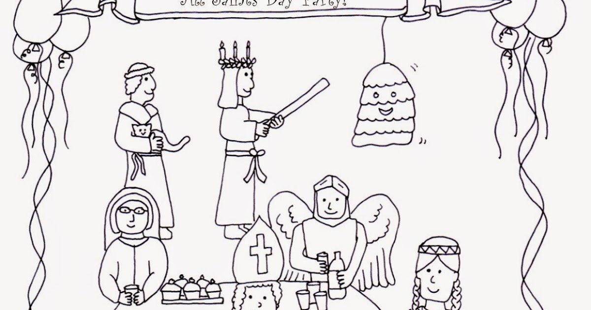 feast of the guardian angels coloring pages - drawn2bcreative all saints day coloring page