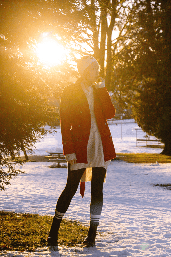 Red coat sweater dress winter fashion.
