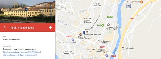 Ubicació de l'àrea d'autocaravanes de Ripoll