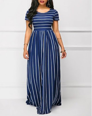 vestido con rayas largo elegantes con estampado de moda