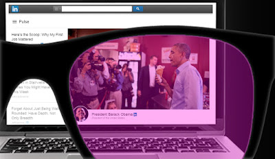 composite picture of president Barack Obama eating free ice cream at a local small business with dozens of reporters capturing this fake photo opportunity. The image is framed by LinkedIn's web page and displayed over an apple laptop screen. All of it behind rose tinted glasses.