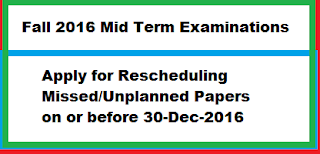 Apply for Rescheduling of Missed/Unplanned Papers