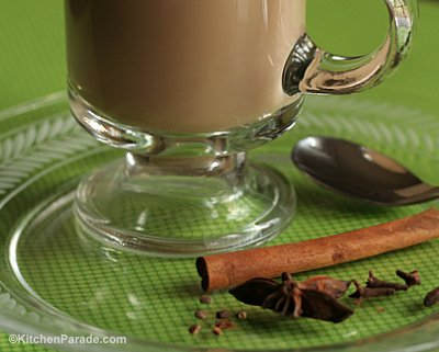 Sugar-Free Chai Tea, winter comfort food ♥ KitchenParade.com. Just milky tea steeped with fresh ginger and Indian-style spices, cardamom, cinnamon, clove, star anise and black pepper. Serve it hot without sugar or just a touch of honey. Weight Watchers Friendly. Low Carb. Gluten Free. Great for Meal Prep.