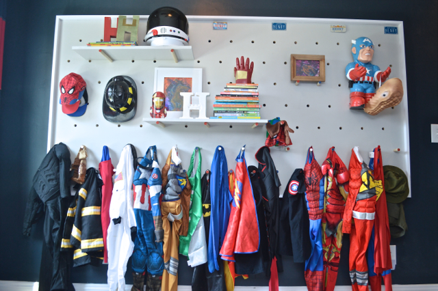DIY pegboard for kids storage