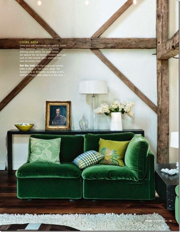 sala acentos verde esmeralda