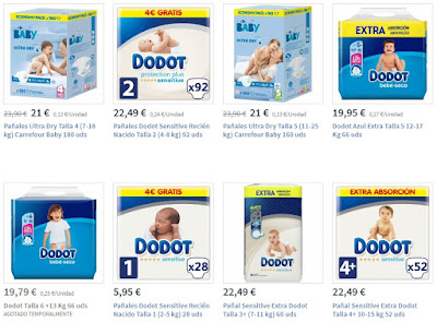 Pañales más vendidos en la web Carrefour