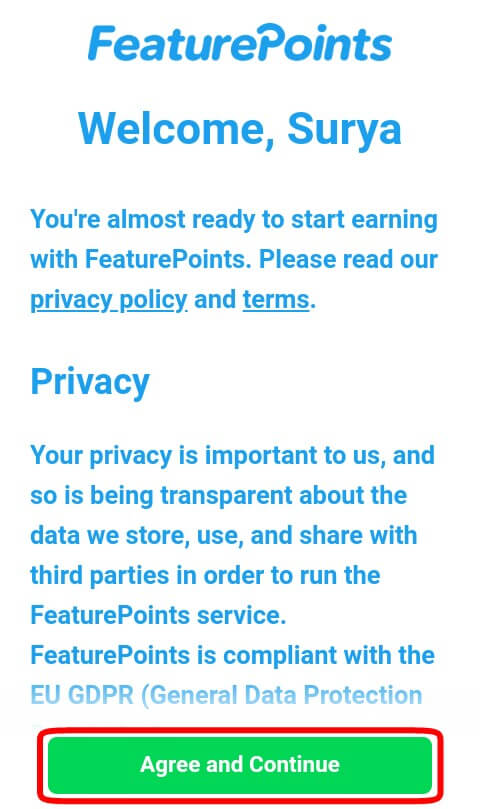 "setujui Privacy Feature Points dengan cara memilih ""Agree and Continue""."