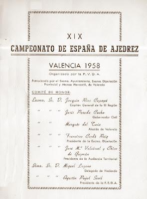 Comité de Honor del XXIII Campeonato de España de Ajedrez 1958