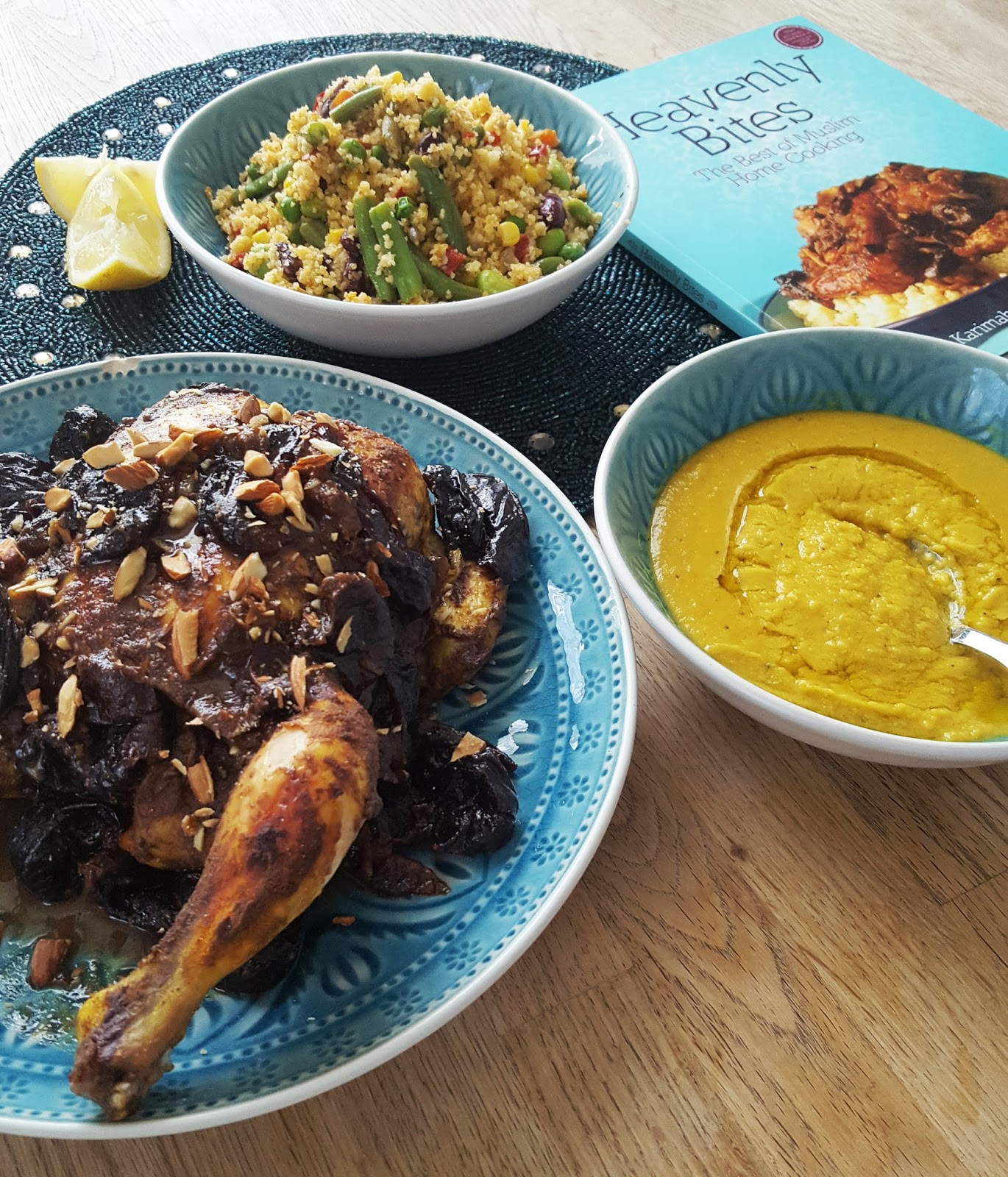 roast chicken, couscous, lentil soup