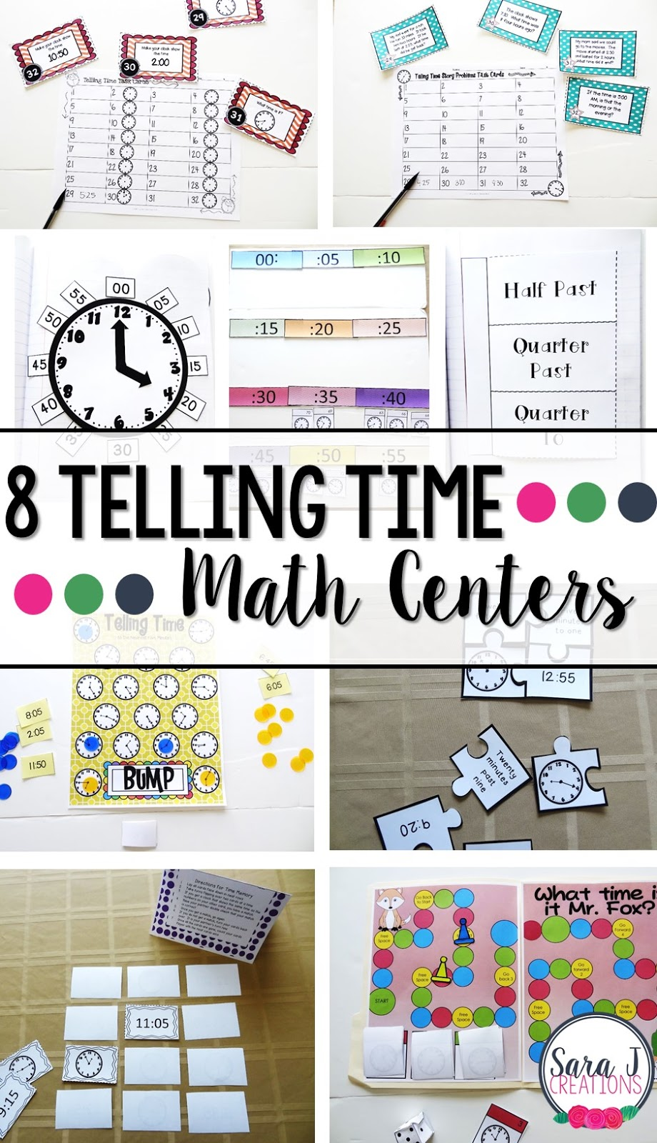 8 centers for helping students practice telling time! This makes centers and small group learning so easy!