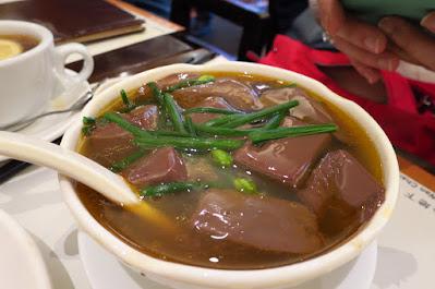 Kam's Roast Goose, geese blood curd soup