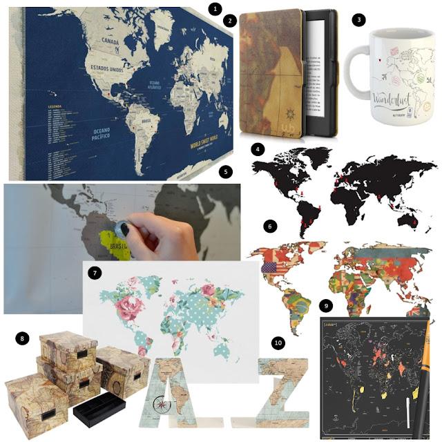 Onde Comprar: Mapa-múndi de decoração
