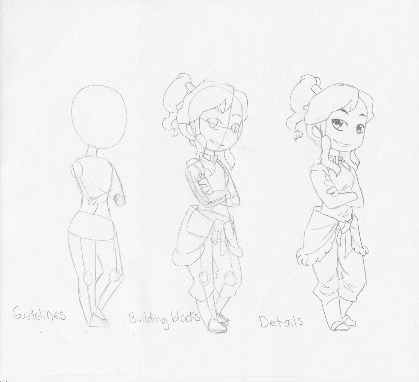 Here is a quick 3 step pencil drawing of avatar korra i use the same basic blocks for chibis as i do regular manga just chibis are chubbier