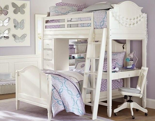 dormitorio decorado con lila