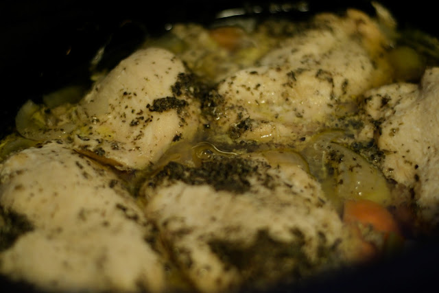The finished Easy Crock Pot Herbed Chicken Dinner in the crock pot.