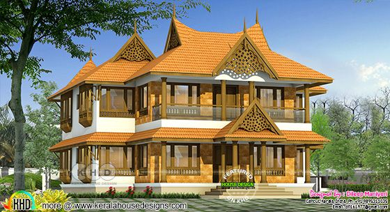 2856 square feet 4 BHK tradional Kerala home design