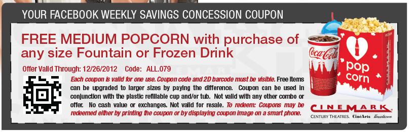 Cinemark FREE Medium Popcorn Wyb A Drink