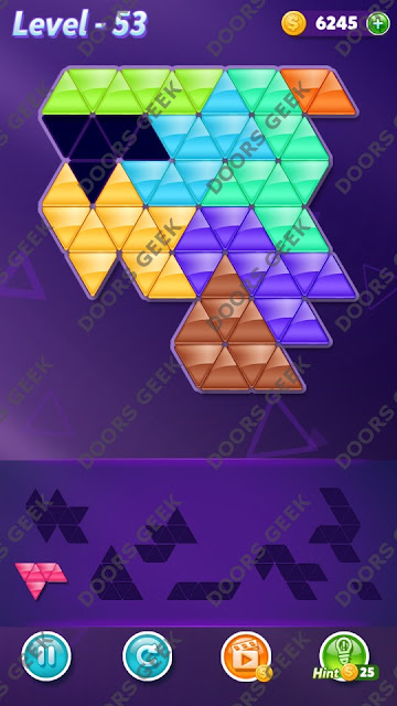 Block! Triangle Puzzle 8 Mania Level 53 Solution, Cheats, Walkthrough for Android, iPhone, iPad and iPod