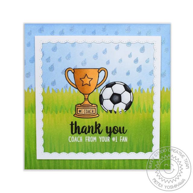 Sunny Studio Stamps: Team Player Soccer Coach Thank You Card by Mendi Yoshikawa