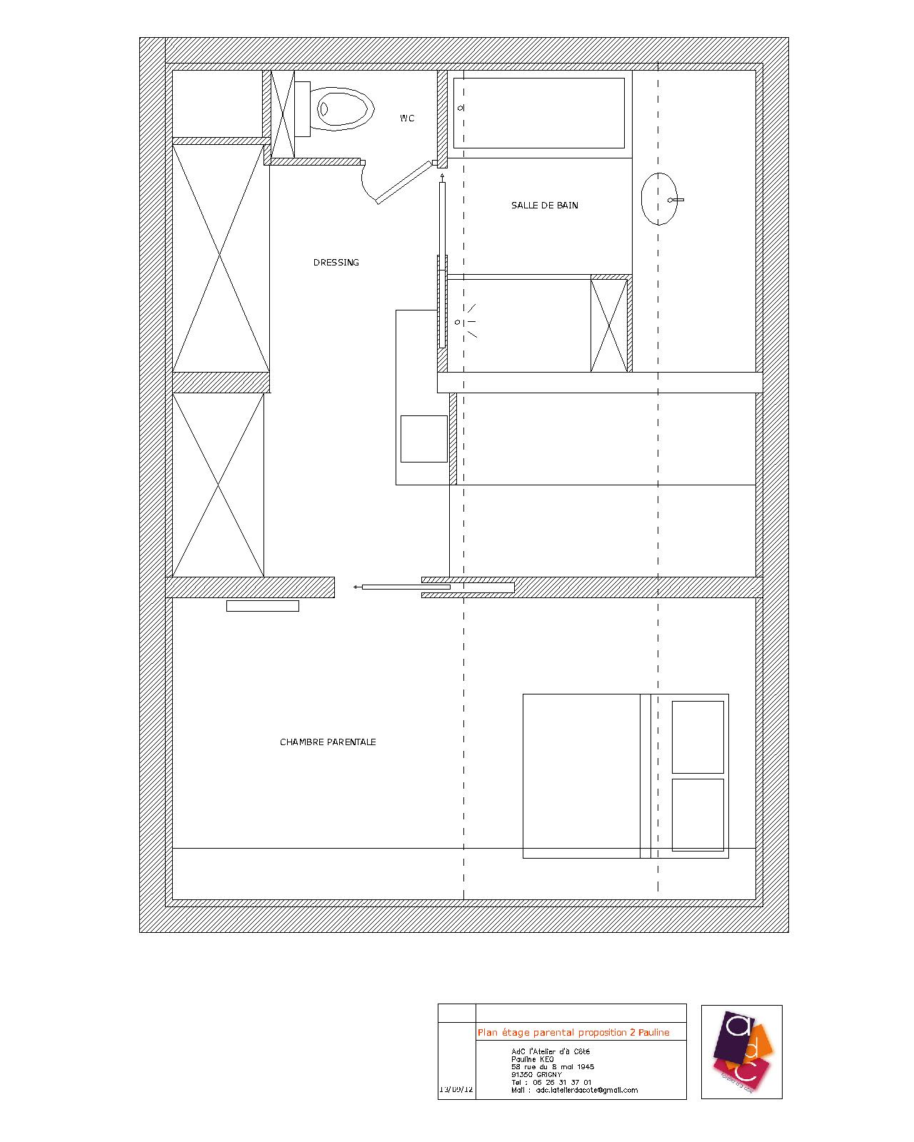 Adc l 39 atelier d 39 c t am nagement int rieur design d for Plan de suite parentale dressing et salle de bain