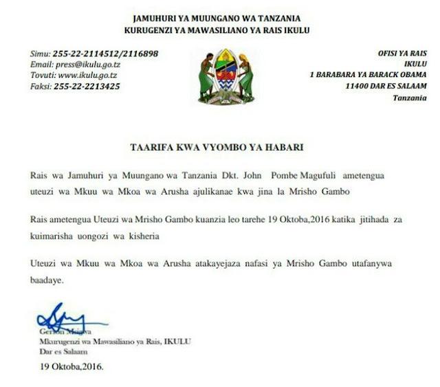 Taarifa ya Uteuzi wa Mkuu wa Mkoa wa Arusha Kutenguliwa Inayosambaa Mitandaoni...Ikulu Yatoa Tamko