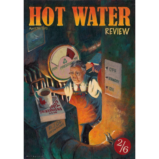 Hot Water Review portrait in acrylics: An imaginative and artistic way to create portraiture for execs who are moving on. Original; Personal; Imaginative; Unique and Memorable