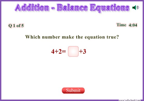 http://www.softschools.com/math/addition/balance_equations/balance_equations.swf