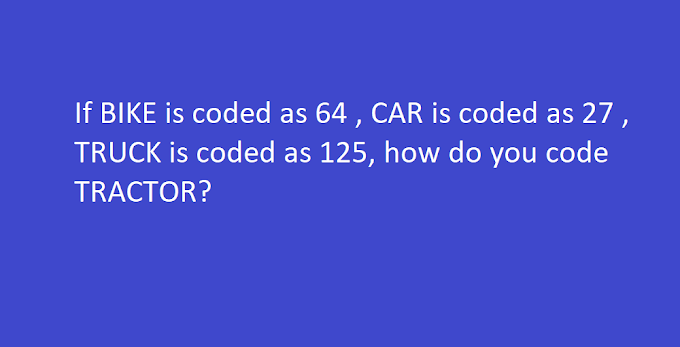 If BIKE is coded as 64 , CAR is coded as 27 , TRUCK is coded as 125, how do you code TRACTOR?