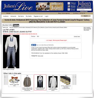 スティーブジョブズが所有していたリーバイス501のオークション出品ページ