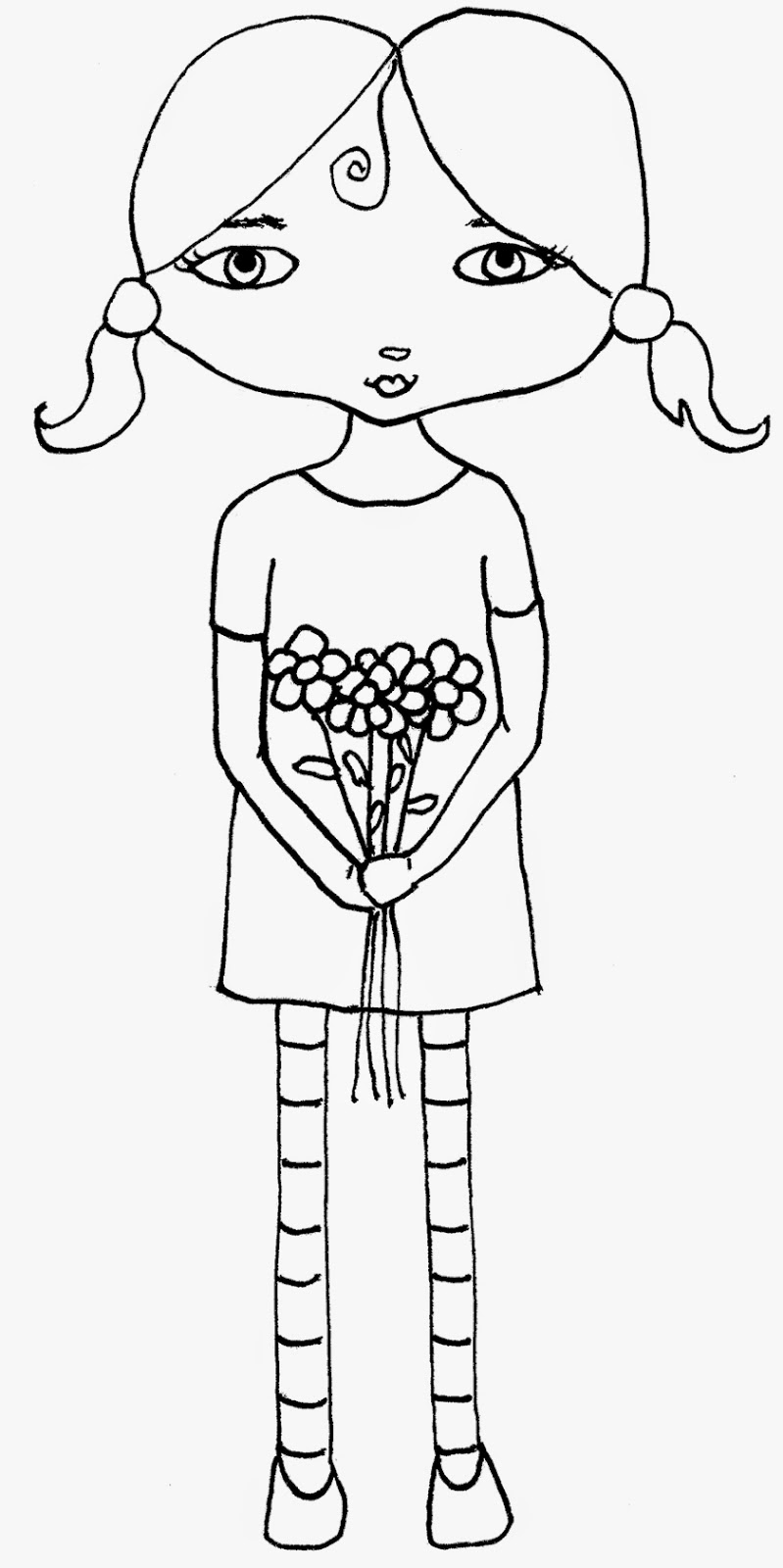Crudoodle Free Digital Stamp, Girl with Bouquet by Tori Beveridge