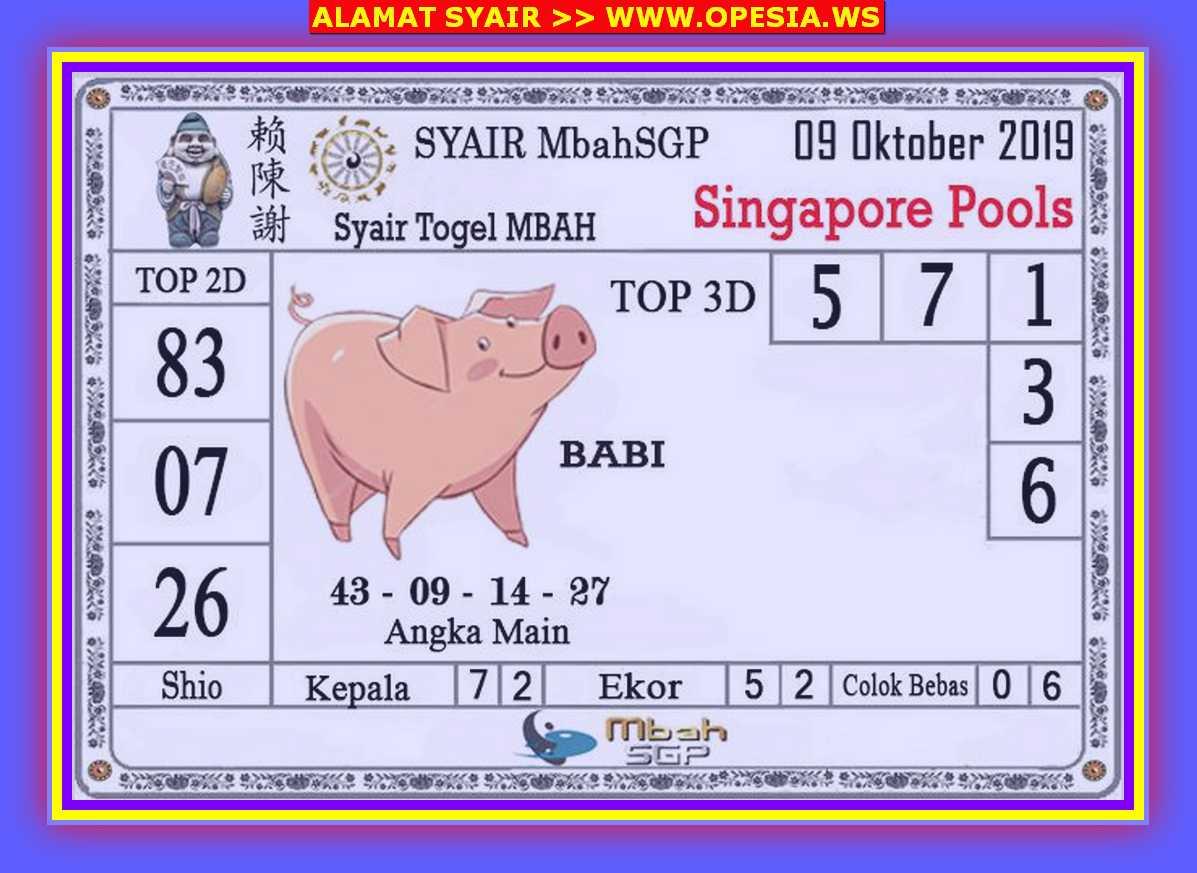 Kode syair Singapore Rabu 9 Oktober 2019 67