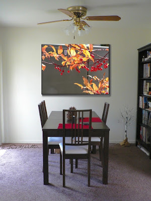 Our dining room and wall with photo insert, imagining the painting possibilities.