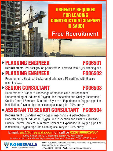 Urgent Required for Leading Cunstruction Company in Saudi Arabia