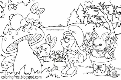 Girl Smurf Smurfette wood rabbit cute Smurfs coloring pages girls art drawing ideas for teenagers