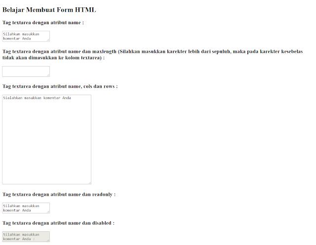 Tag textarea dalam form HTML