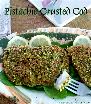 Pistachio Crusted and pan sautéed, Cod is such an easy light dinner. The crunchy pistachio coating adds flavor and texture to this mild flavored fish. | Recipe developed by www.BakingInATornado.com | #recipe #dinner