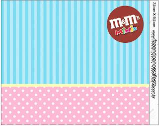 Etiqueta M&M de Celeste, Rosa y Amarillo para imprimir gratis.