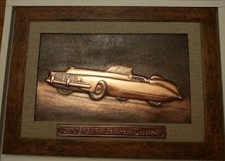 mercury masina de epoca tablou metaloplastie pe tabla de cupru, arta plasatica, lucru manual,