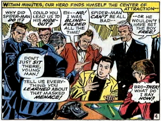 Amazing Spider-Man #59, don heck, john romita, returned from wherever he's been, peter parker is surrounded by people wanting to know where he's been