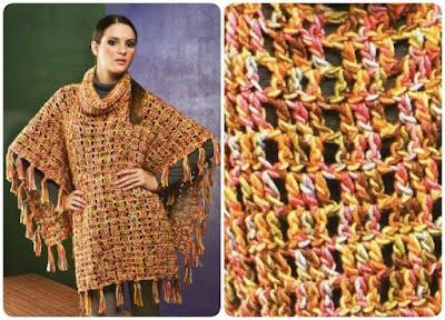 Poncho Crochet Cuadrante Patron