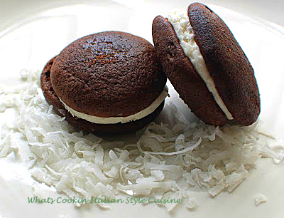 these are a coconut cream filled chocolate whoopie pie