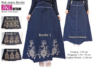 Rok jeans panjang model bordir cantik terlaris