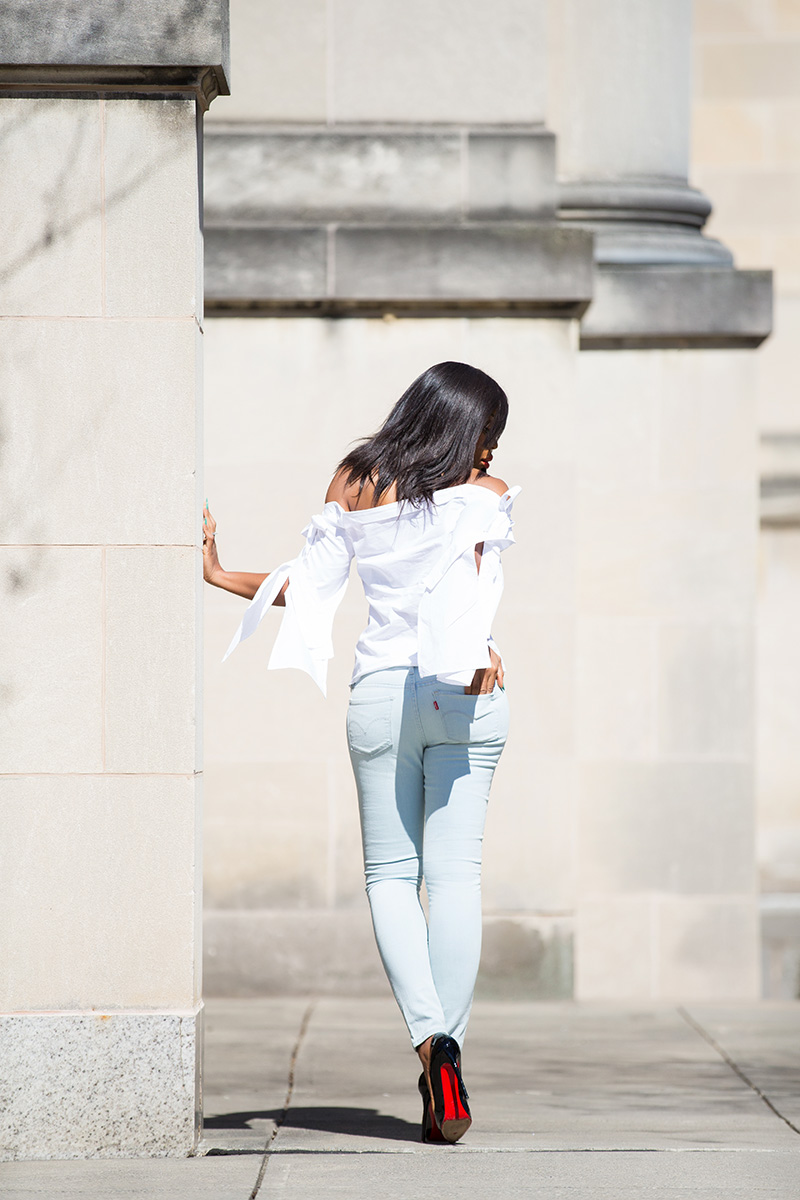 casual look, levis 711 skinny jeans, maurine and eve off the shoulder top, www.jadore-fashion.com