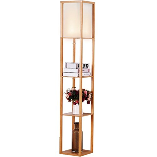 Tinuku Store Decor lighting stand with three stage made of natural wood for office or home