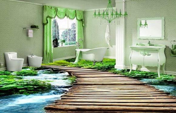 Banheiro piso trilha de floresta