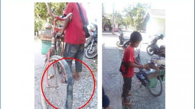 Bocah Penjual Sate Ini Rela Mengayuh Sepeda Butut Sejauh 13 Km Demi Bisa Menghidupi Adiknya